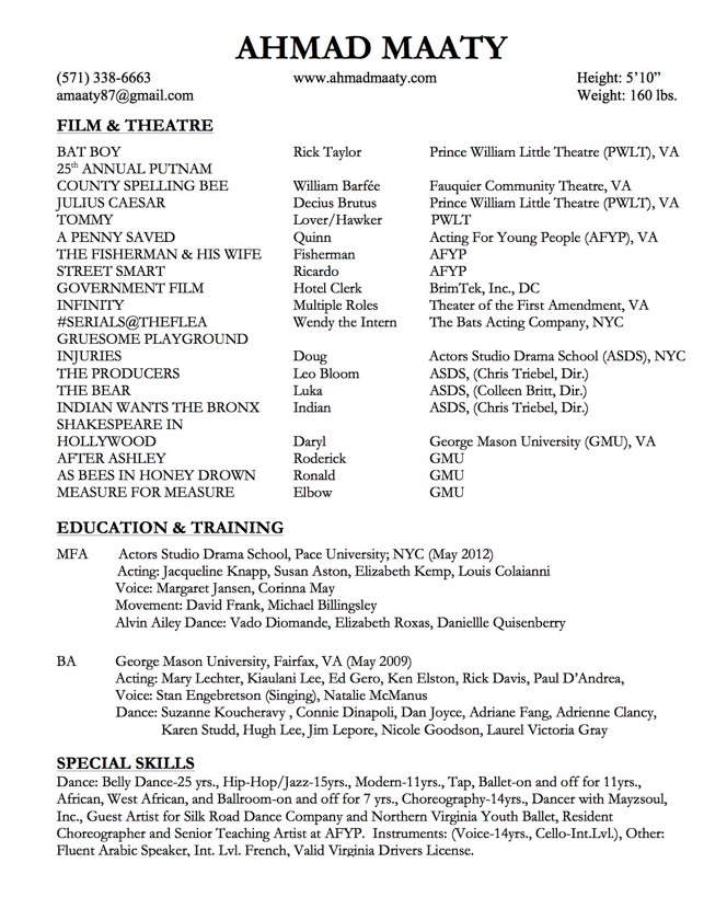 acting resume examples acting resume sample special skills for acting resume - Choreographer Sample Resume